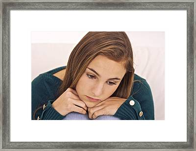 Depressed Teenage Girl Framed Print by Science Photo Library