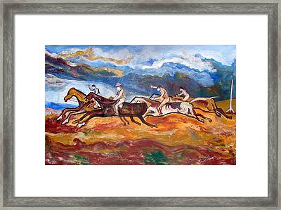 Framed Print featuring the painting Derby Race Horses by Anand Swaroop Manchiraju