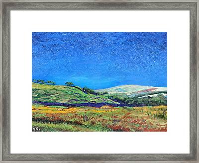 Derbyshire Landscape, 1999 Oil On Board Framed Print by Trevor Neal