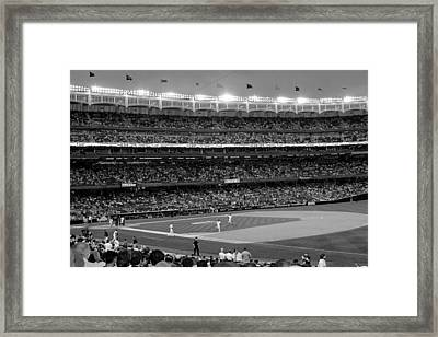 Derek Jeter Leads The Way As The Yankees Take The Field In Black And White Framed Print by Aurelio Zucco