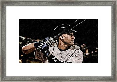 Derek Jeter On Canvas Framed Print