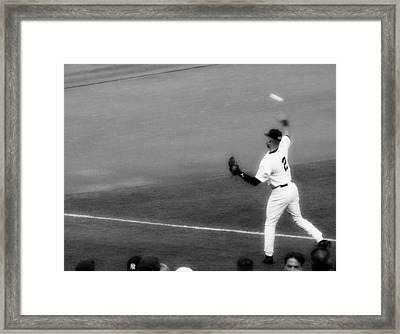 Derek Jeter Warming Up Before A Game - Full Black And White Framed Print