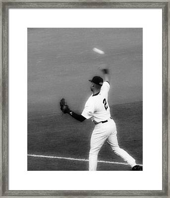 Derek Jeter Warming Up Before A Game - Full Black And White Close-up Framed Print