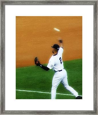 Derek Jeter Warming Up Before A Game - Full Color Close-up Framed Print