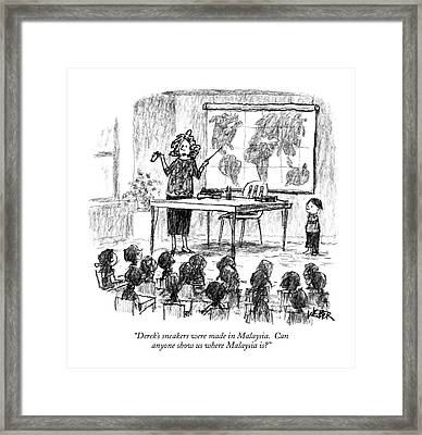 Derek's Sneakers Were Made In Malaysia Framed Print