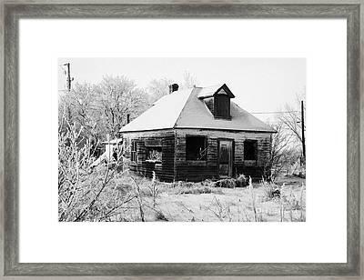 derelict empty wooden traditional house in rural village Forget Saskatchewan Canada Framed Print