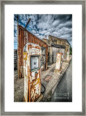 Derelict Gas Station Framed Print