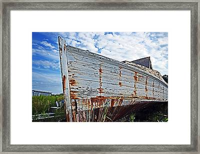 Derelict Workboat In Greenbackville Framed Print by Bill Swartwout