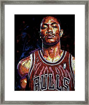 Derrick Rose-2 Framed Print by Maria Arango