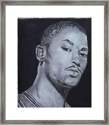 Derrick Rose Framed Print by Aaron Balderas