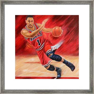 78d8e956b980 Framed Print featuring the painting Derrick Rose by Angie Villegas