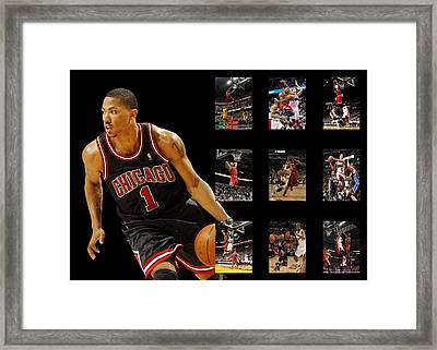 Derrick Rose Framed Print by Joe Hamilton