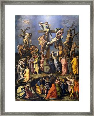 Descent From The Cross Framed Print by Alessandro Allori