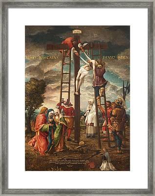 Descent Of The Cross Oil On Panel Framed Print