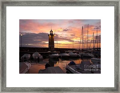 Desenzano Del Garda Marina Old Lighthouse Sunrise Framed Print by Kiril Stanchev