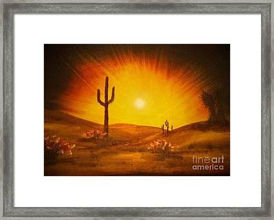 Desert Aglow Framed Print by Becky Lupe