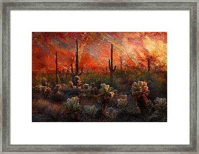 Framed Print featuring the photograph Desert Burn by Barbara Manis