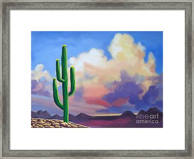 Framed Print featuring the painting Desert Cactus At Sunset by Tim Gilliland