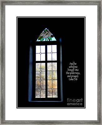Desert Church Window With Scripture Framed Print by Avis  Noelle
