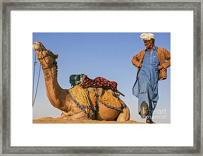 Desert Dance Of The Dromedary And The Camel Driver Framed Print