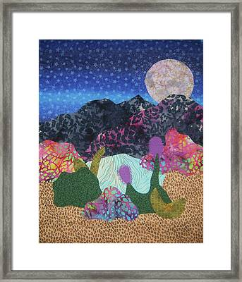 Framed Print featuring the tapestry - textile Desert Dreaming by Ellen Levinson