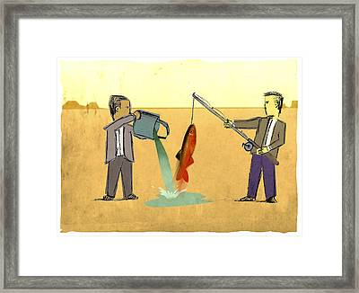 Desert Fishing Framed Print