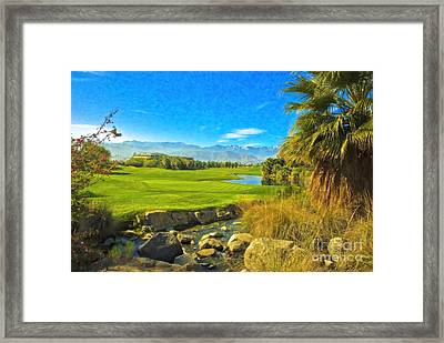Framed Print featuring the photograph Desert Golf Resort Pastel Photograph by David Zanzinger