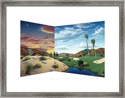 Desert Golf Framed Print by Snake Jagger