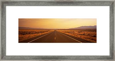 Desert Highway, Nevada, Usa Framed Print by Panoramic Images