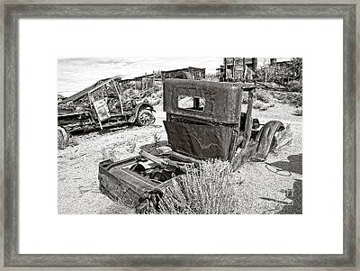 Desert Idle In Black And White Framed Print by Lee Craig
