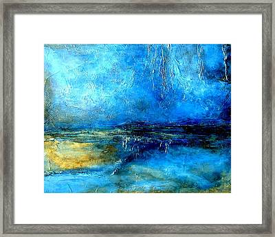 Desert Lightning An Abstract Blue And Black Painting With Heavy Texture Framed Print