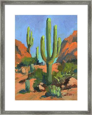 Desert Morning Saguaro Framed Print by Diane McClary