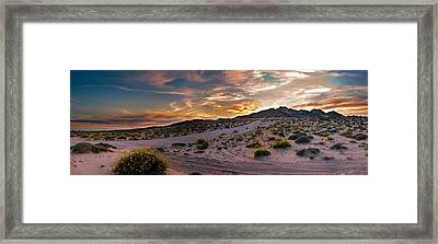 Desert Mountain Sunset Panorama Framed Print by Dave Dilli