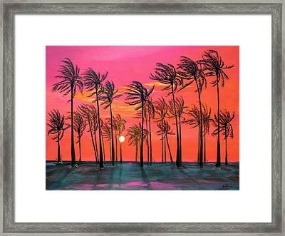 Desert Palm Trees At Sunset Framed Print