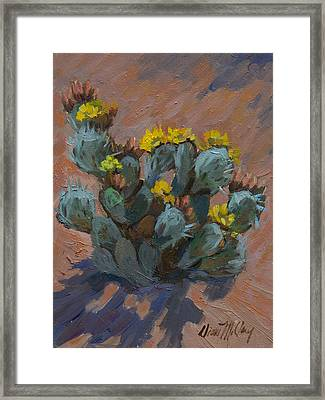 Desert Prickly Pear Cactus Framed Print by Diane McClary