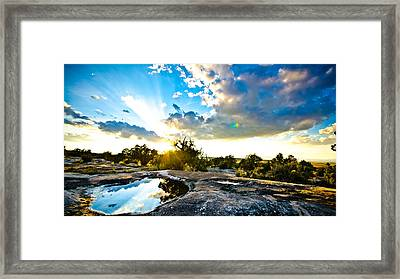 Desert Puddle Reflection Framed Print by Chase Taylor