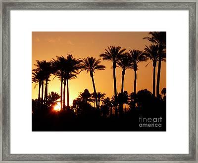 Desert Silhouette Sunrise Framed Print by Deborah Smolinske