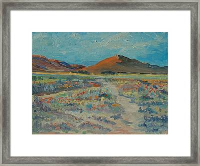 Desert Spring Flowers With Orange Hill Framed Print