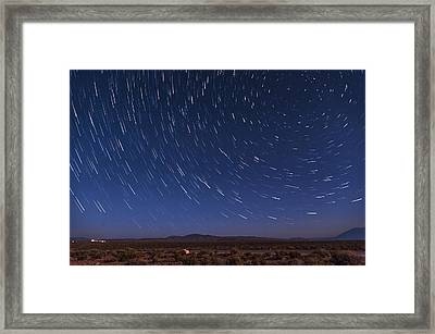 Desert Star Trails Framed Print by Cat Connor