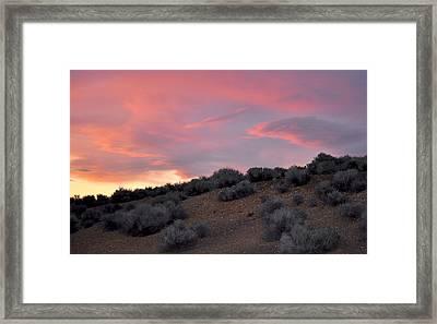 Framed Print featuring the photograph Desert Sunset by AJ  Schibig