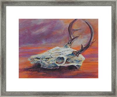 Framed Print featuring the painting Desert Sunset Deer by Mary Schiros