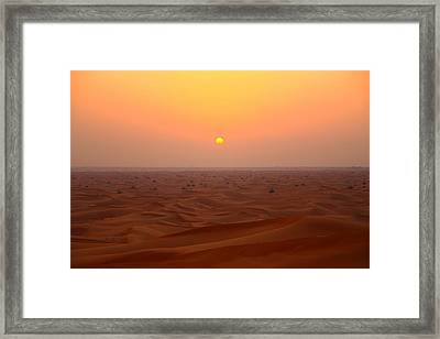 Desert Sunset Framed Print by FireFlux Studios