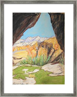 Desert View From The Cave Framed Print by Esther Newman-Cohen