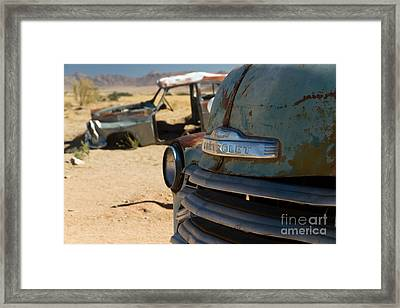 Framed Print featuring the photograph Desert Wrecks  by Juergen Klust