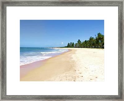 Deserted Beach Framed Print by Elaine Plesser