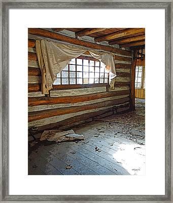 Deserted Log Cabin Interior - Light Through The Window Framed Print by Rebecca Korpita