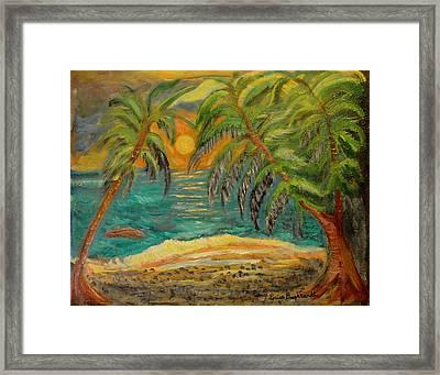 Deserted Tropical Sunset Framed Print by Louise Burkhardt