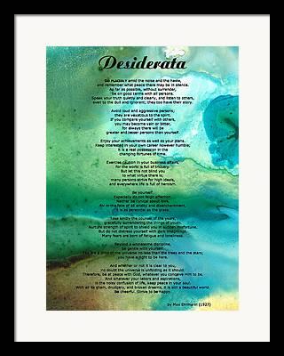Desiderata Framed Prints