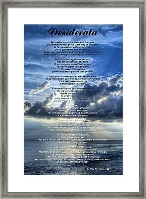 Desiderata 7 - Inspirational Art By Sharon Cummings Framed Print