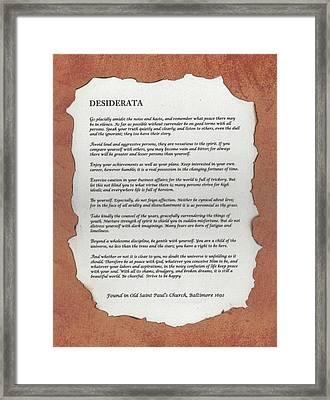 Desiderata Framed Print by Carol  Eliassen
